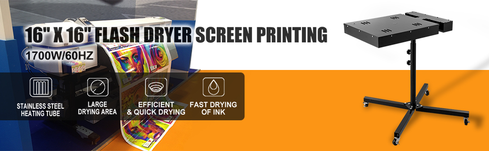 Siebdruck Flashtrockner 2000 W Silk Screen Printing mit verstellbarem St/änder f/ür T-Shirt Silkscreen Druck VEVOR Flashtrockner 46 x 60 cm Flash Dryer Maschine 220 V