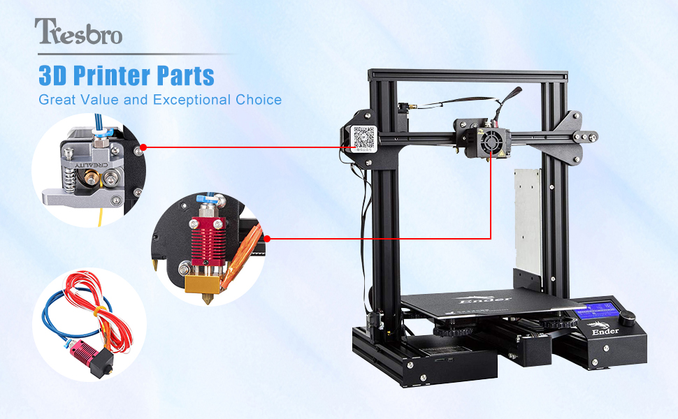 5 Plus 3D Printer 5//5 Pro Compatible with All 1.75mm 3D Printer Filament and Ender 3//3 Pro Capricorn Tube 2 Meters XS Series PTFE Bowden Tubing Low Friction