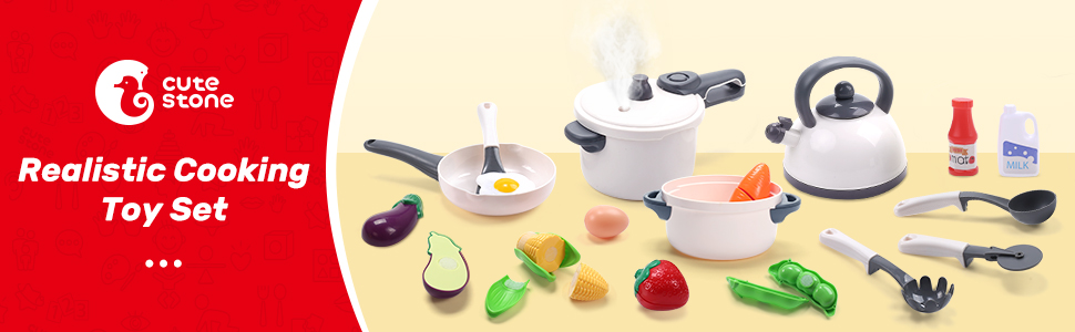 CUTE STONE Kids Play Kitchen Cooking Set