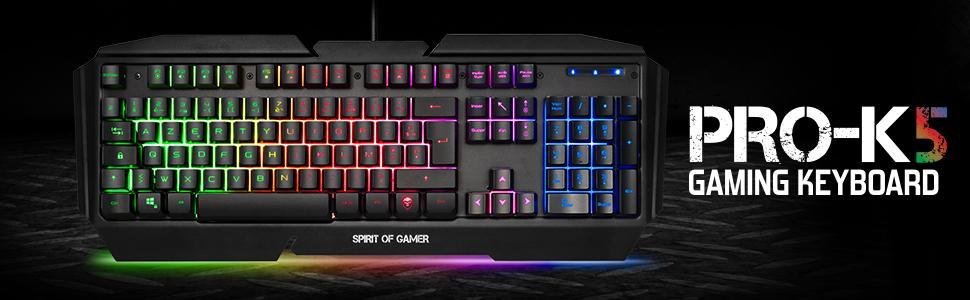 SPIRIT OF GAMER - Teclado Gaming PRO-K5 AZERTY - Semimecánico - 19 Teclas Anti-Efecto Fantasma - RGB - Retroiluminación - Play Modo – PS4 / XBOX ONE / ...