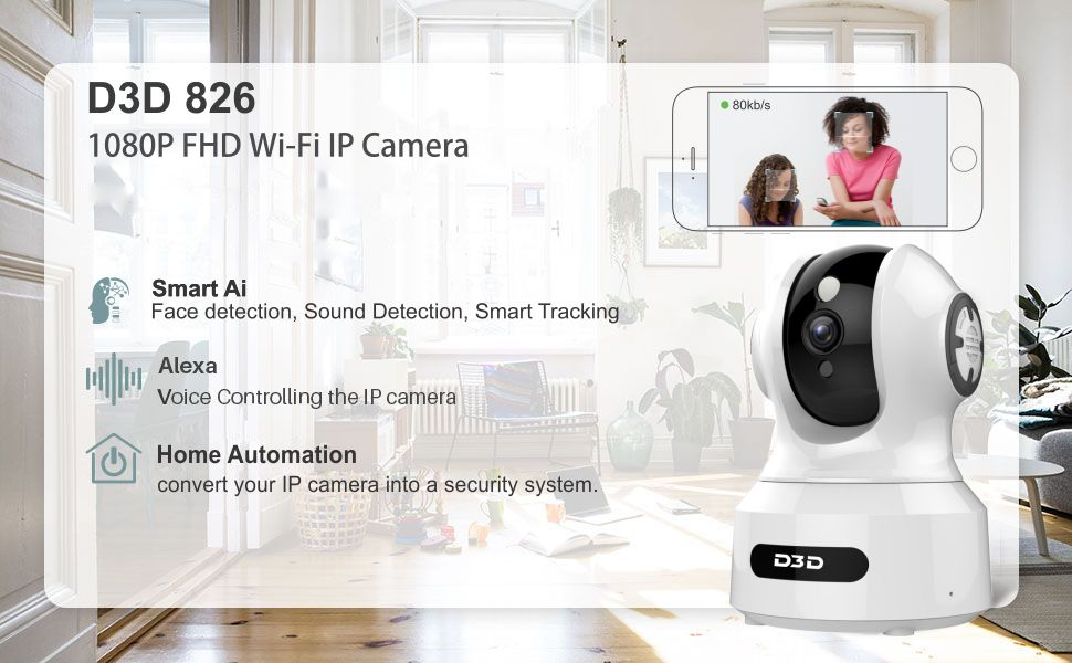 D3D 826 Home Security AI Smart IP Camera