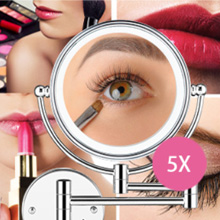 5X magnifying bathroom makeup mirror, no distortion