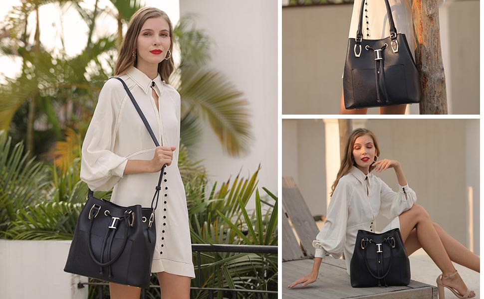 LJOSEIND Handbag for Women Purse Hobo Bag Bucket Designer Luxury