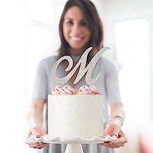 m last name cake topper wedding