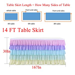 14ft table skirt for baby shower girl