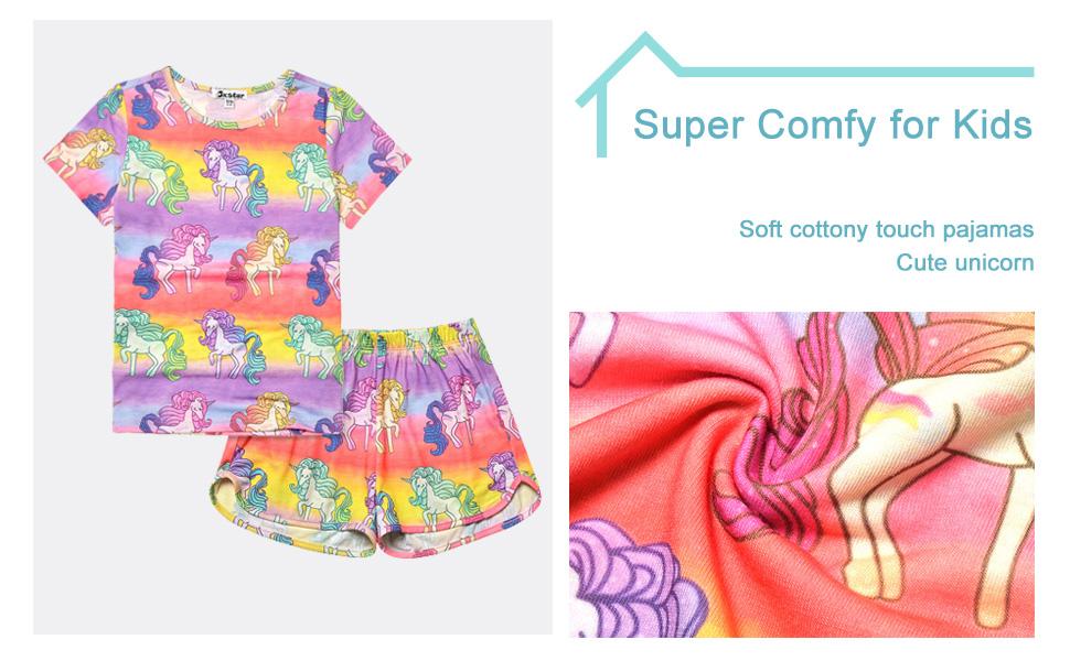 Jxstar Girls Unicorn Pajamas Kids Cotton Set Sleepwear 2 Piece Long//Short Sleeve