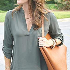 Womens Roll Tab Sleeve Tunic Perfect Long for Leggings Shirt Cute Versatile Top