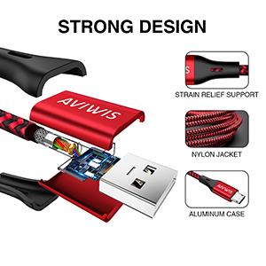 AVIWIS Cable Micro USB, [3-Unidades 2M] Cargador Micro USB Trenzado de Nylon Carga Rápida y Sincronizació para Android Samsung Galaxy S7/ S6/ J5/ J6/ ...