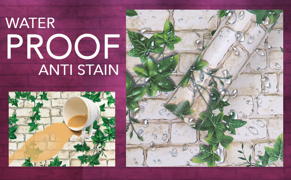 water proof, oil proof, 3D Brick & nature vine, wall stickers wallpaper for wall, self adhesive
