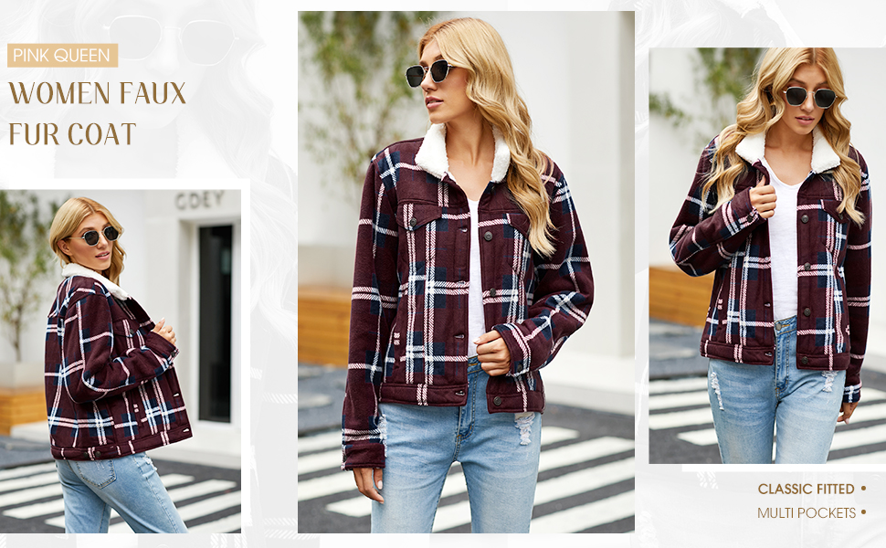 Pink Queen Womens Plaid Jacket