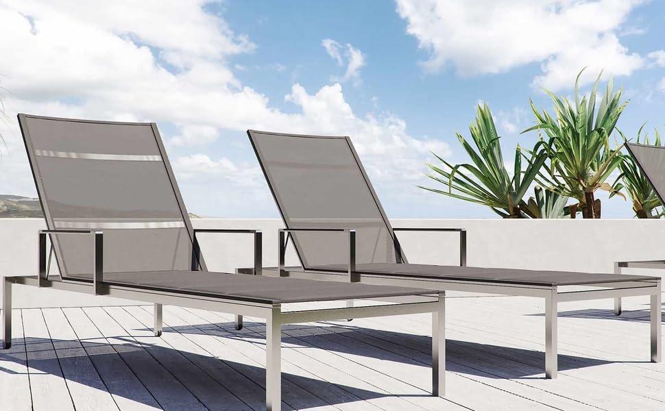 Amazon De Artelia Cairo M2 Edelstahl Gartenliege Set Mit 2 Liegen Luxus Sonnenliege Fur Garten Terrasse Und Balkon Extrem Hochwertige Premium Relaxliege Aus Edelstahl