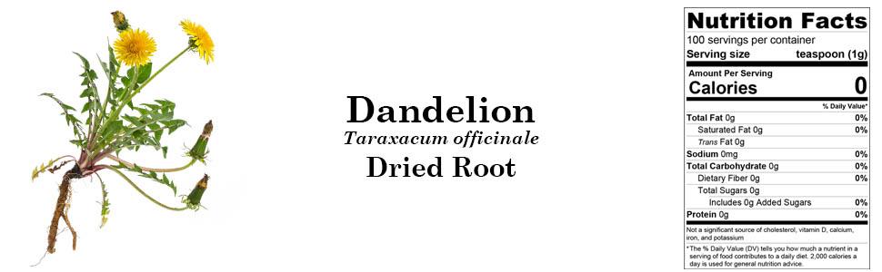 Organic Dandelion (Taraxacum officinale) Dried Root 100g 3.55oz