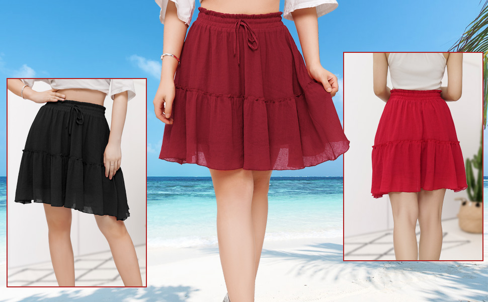 Bbonlinedress Womens Summer Flared Mini Skirts High Waisted Ruffle Skirt with Drawstring Decoration