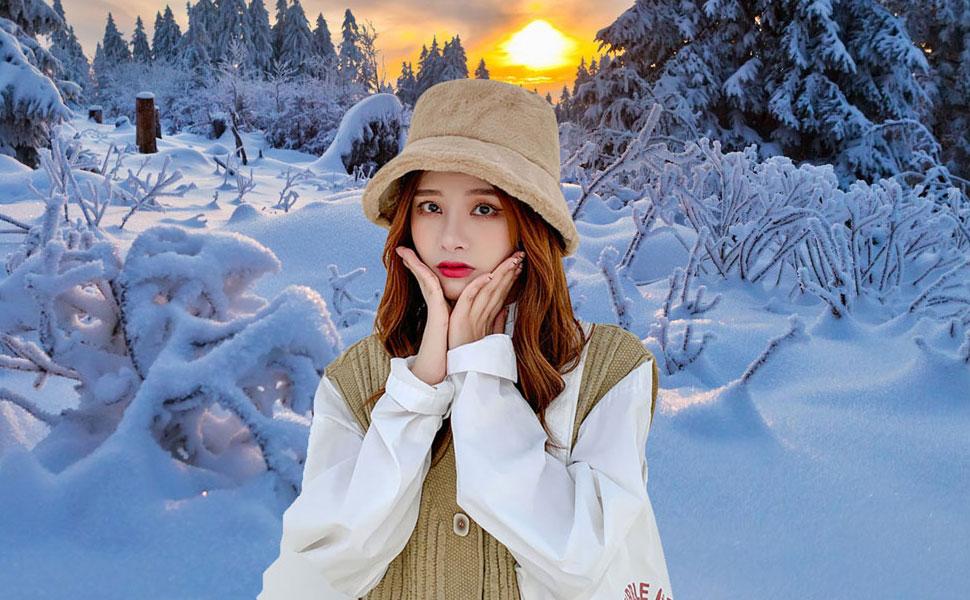 Khaki Starinee Women's Cute Fall Winter Fashion Warm Cozy Faux Fur Fisherman Bucket Hat Cap