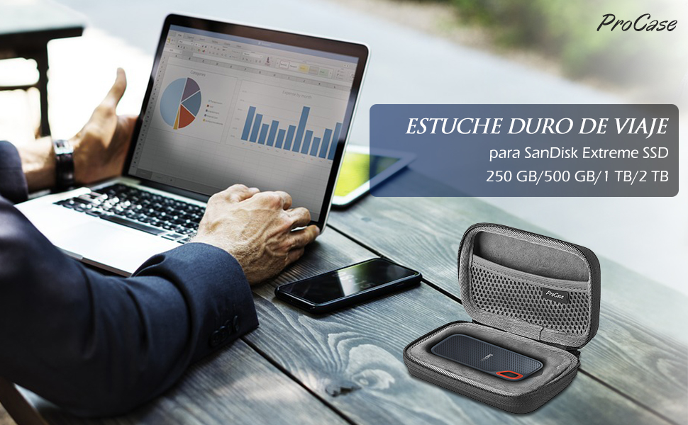 ProCase Estuche de Viaje para SanDisk Extreme 250GB/ 500GB/ 1TB ...