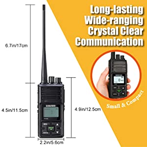Dock Charger Included Frequency Reprogrammable Sanzuco Handheld Walkie Talkie with Group Talk Function Black, 2 Pack 3000mAh Li-Battery Long Range Rechargeable Two-Way Radio with Earpiece /& Mic