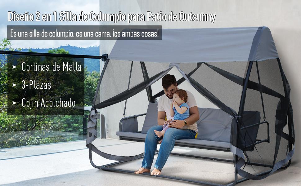 Outsunny Columpio Balancín Jardín 3 Plazas Convertible en Cama con Mosquitera Completa Bolsa de Almacenamineto Terrza Balcón Exterior 240x140x197cm Acero Carga máx. 300kg: Amazon.es: Jardín