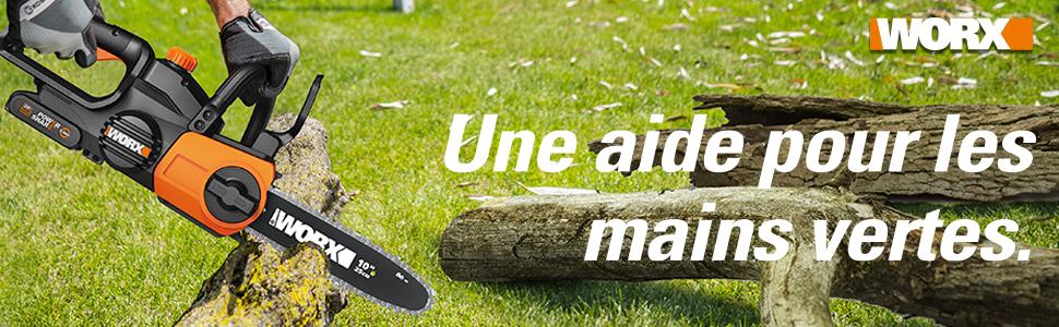 tronçonneuse batterie électrique sans fil 20v chargeur chaȋne elagueuse coupe outil jardin guide