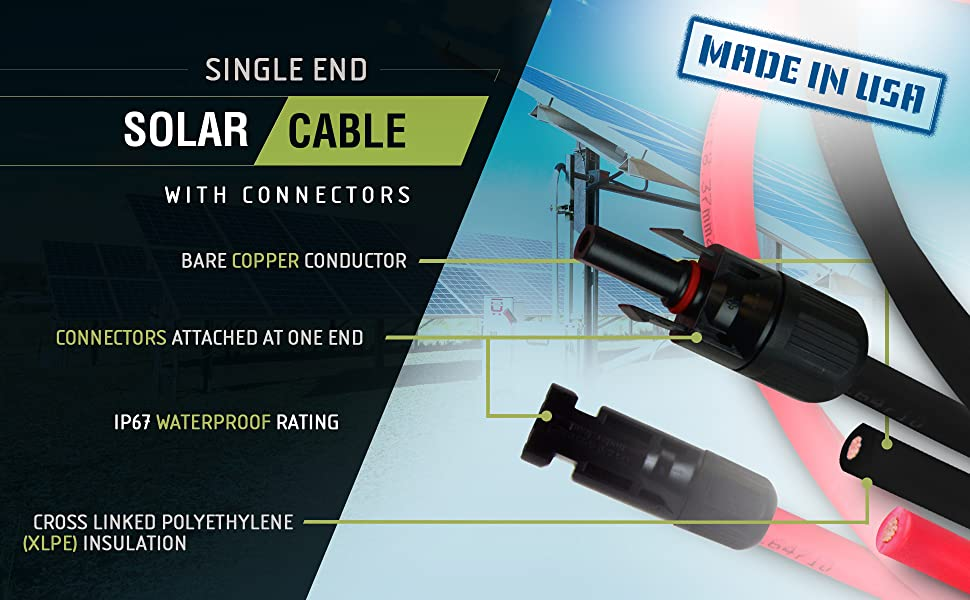 8 AWG Solar Wire with MC4 Connectors Made in USA