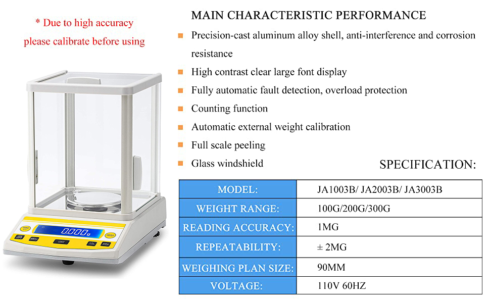 CGOLDENWALL Digital Analytical Balance High Precision Scale Digital Electronic Balance Scale for Laboratory Pharmacy 300g 1mg
