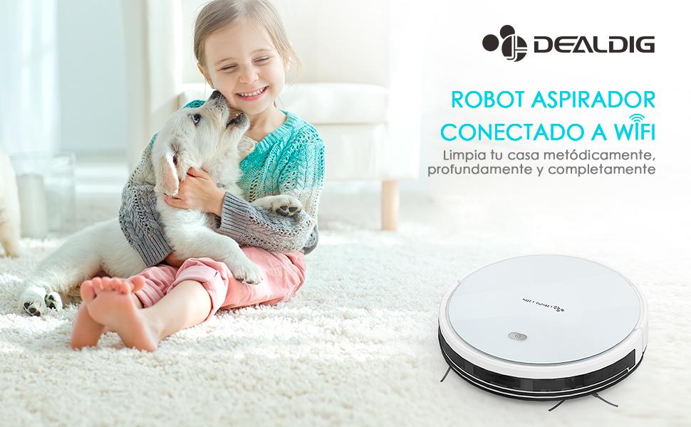 DEALDIG Robot Aspirador 2 en 1, Barre y Aspira el Suelo y Alfombra ...
