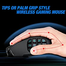 Tips or Palm Grip Style Wireless Gaming Mouse