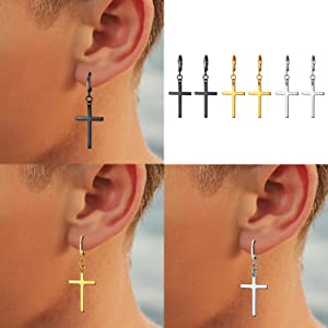 Hoop cross earrings