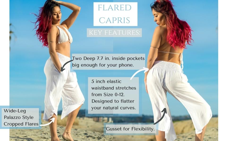 PIYOGA Pants Flared Capris Loose Boho Bohemian Tall Petite Plus Summer Beach Comfy Travel White Yoga