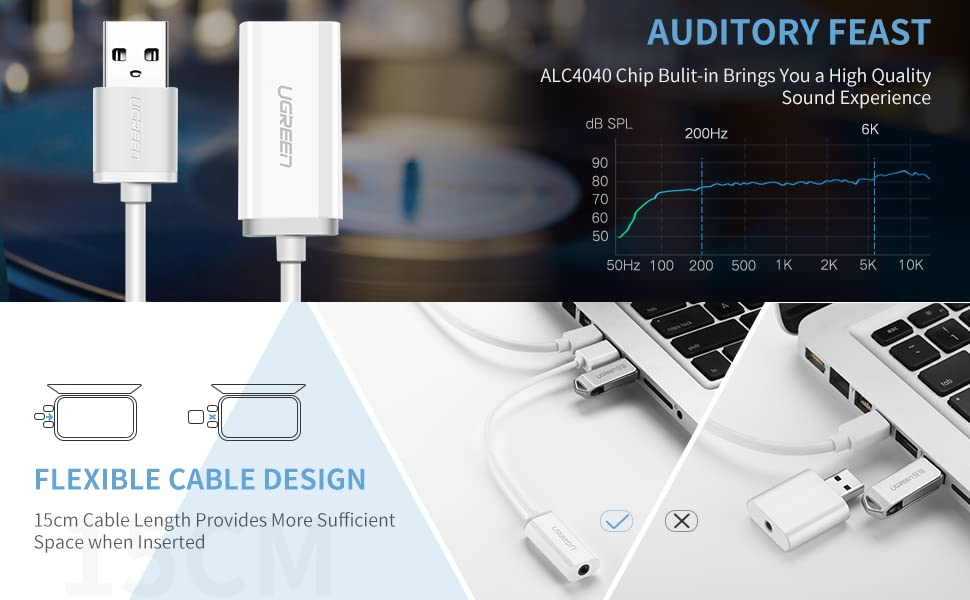 UGREEN USB Sound Card Adapter USB to 3.5mm External Audio Converter Aux Stereo Adapter
