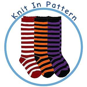 Girls Knee High Costume Socks Black Red Orange Striped Stockings Witch Ladybug