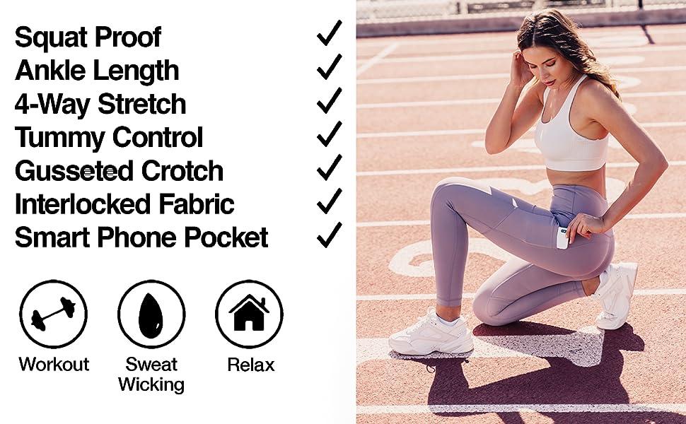 ankle length leggings, 7/8 leggings, leggings with pockets, non see through, exercise leggings