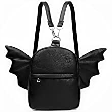 Women mini backpack detachable wing front and inside pocket purse bag black Amazon A+