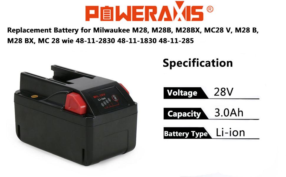 2x AKKU 28V 2000mAh Li-Ion für AEG Milwaukee M28-BX MC28-V MC28 C1228DCR Radio