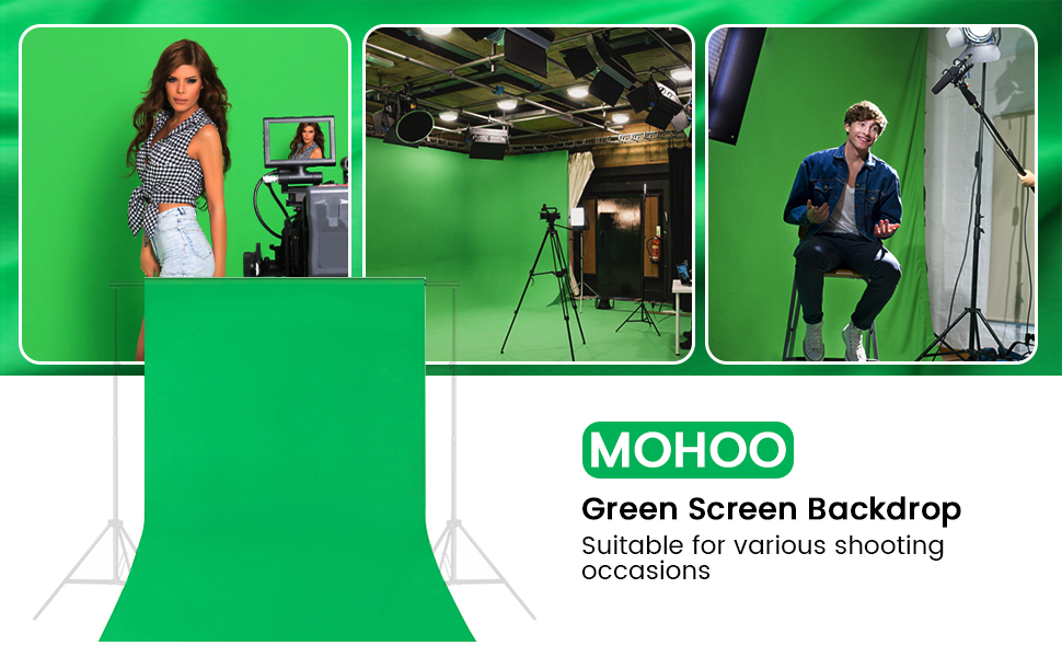 MOHOO 6x9FT Green Screen Backdrop