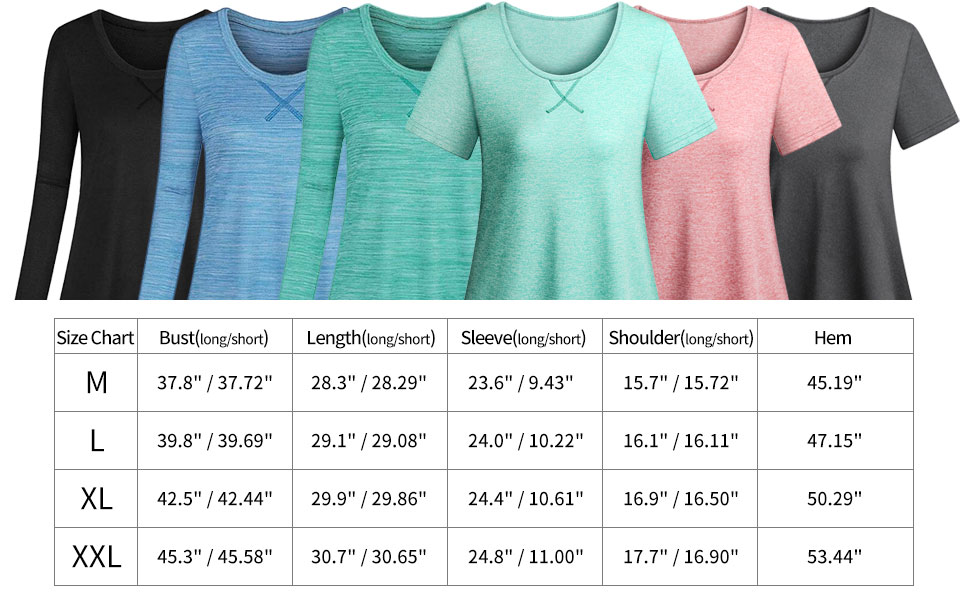 Koscacy Women Activewear Workout Shirts Round Neck Loose Fitting Yoga Tops
