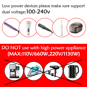 lower power devices please make sure support dual voltage:100-240V