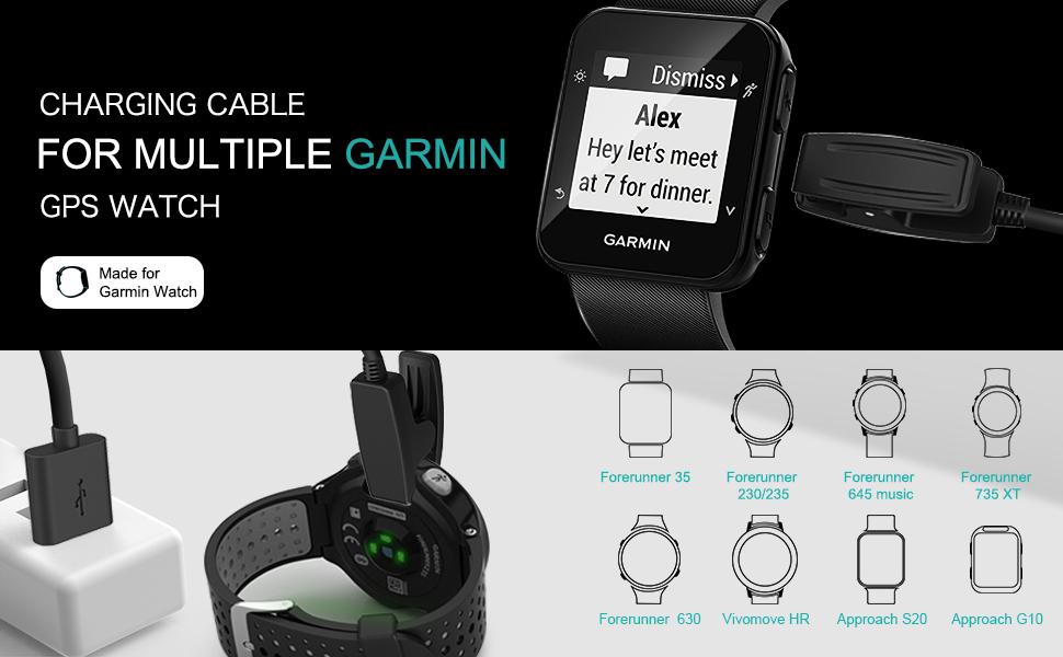 Cargador cable compatible con Garmin Forerunner 35 35J 230 235 630 645 Music 735XT ForeAthlete 35J Approach G10 S20 Vivomove HR