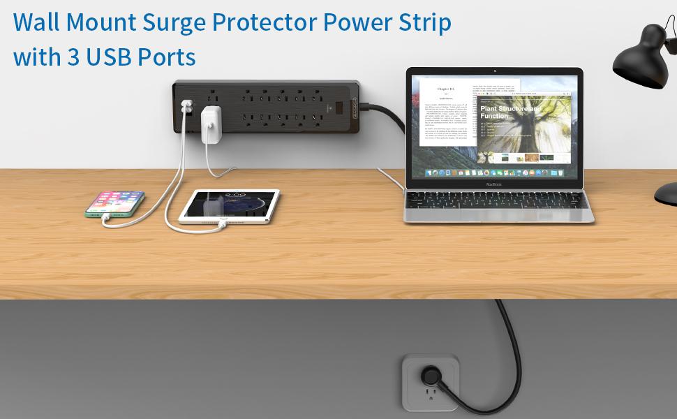 surge protector power strip flat plug with usb
