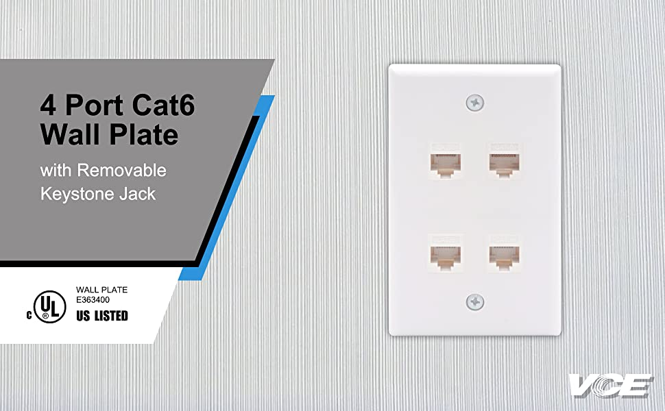 4 Port Cat6 Ethernet Wall Plate