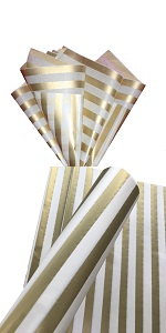 Gold striped tissue paper wedding gift wrap wrapping paper