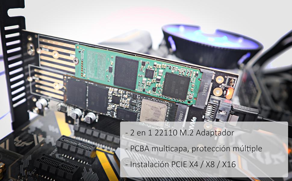 glotrends M.2 Adaptador para SSD NVMe y SSD SATA M.2, 2230/2242 ...