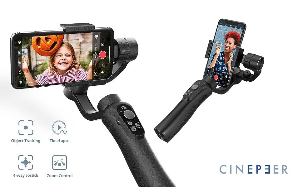 Vlog estabilizador de card/án de Mano de 3 Ejes para iPhone Android Control de Zoom Integrado CINEPEER C11 Smartphone Gimbal grabaci/ón de Video en Vivo