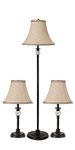 Faceted Crystal Ball Style lamp set