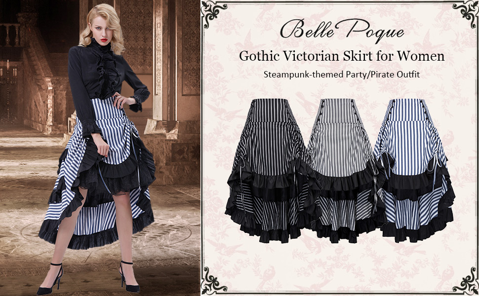 Prom Victorian Bustle Lady Vintage Skirt Gathered Striped Steampunk High-low