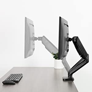Vivo Dual Arm Monitor Desk Mount Height Adjustable Tilt Swivel Counterbalance Pneumatic Stand Vesa Bracket Arm Fits Most Screens Up To 27 Inches Stand V002o Amazon Ca Electronics