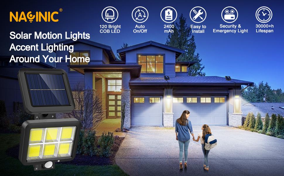 Solar motion sensor lights outdoor