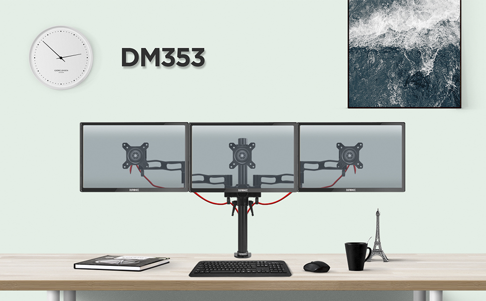 duronic, dm353, monitor, mount, arm, stand, computer, screen, bracket, vesa, vertical, horizontal,