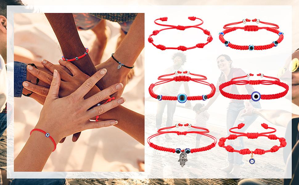 6 Pieces Evil Eye Bracelet for Women Men Handmade Braided Kabbalah Good Luck Red String Bracelet