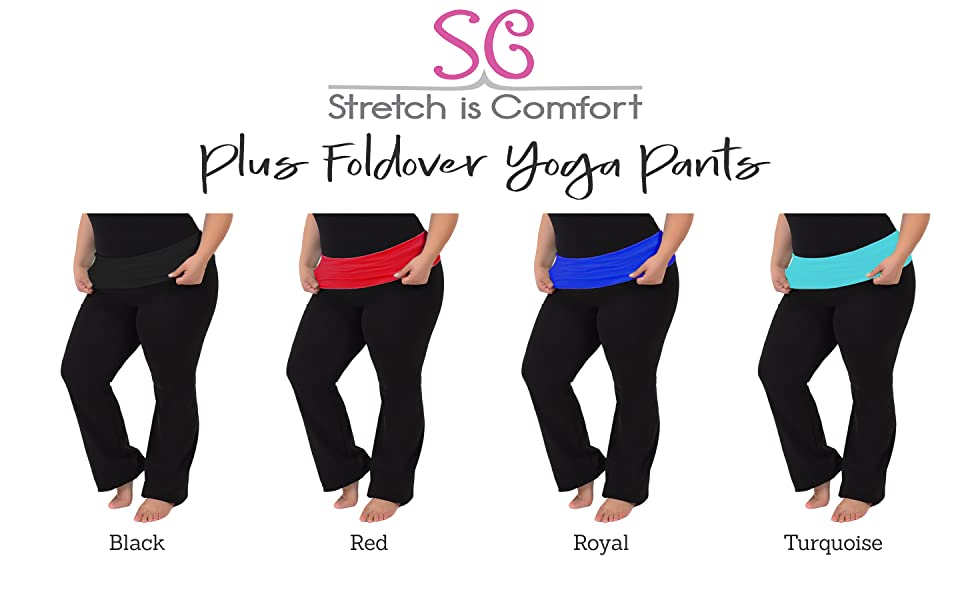 Stretch Is Comfort Womens Foldover Plus Size Yoga Pants