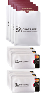 RFID card protector sleeve. 5 Silver Credit card protector Sleeves. Contactless Bank RFID Cardholder